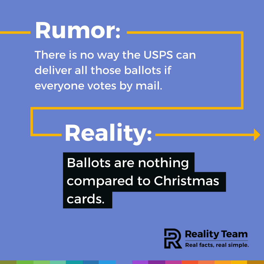Rumor: There is no way the USPS can deliver all those ballots if everyone votes by mail. Reality: Ballots are nothing compared to Christmas cards.