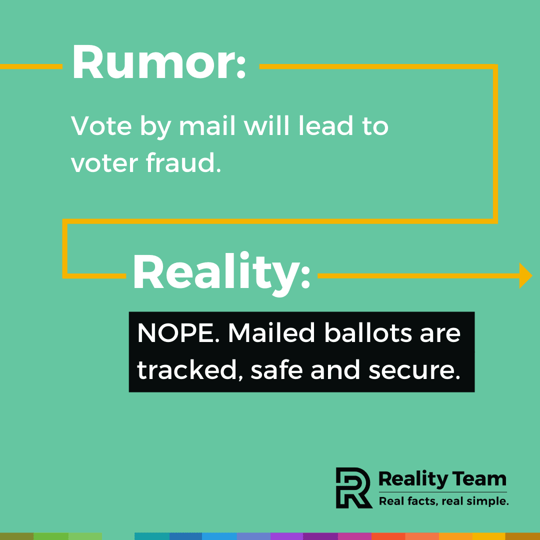 Rumor: Vote by mail will lead to voter fraud. Reality: Nope. Mailed ballots are tracked, safe and secure.
