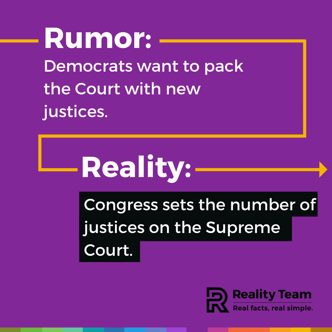 Rumor: Democrats want to pack the Court with new justices. Reality: Congress sets the number of justices on the Supreme Court.