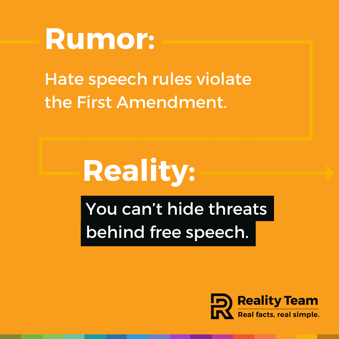 Rumor: Hate speech rules violate the First Amendment. Reality: You can't hide threats behind free speech.