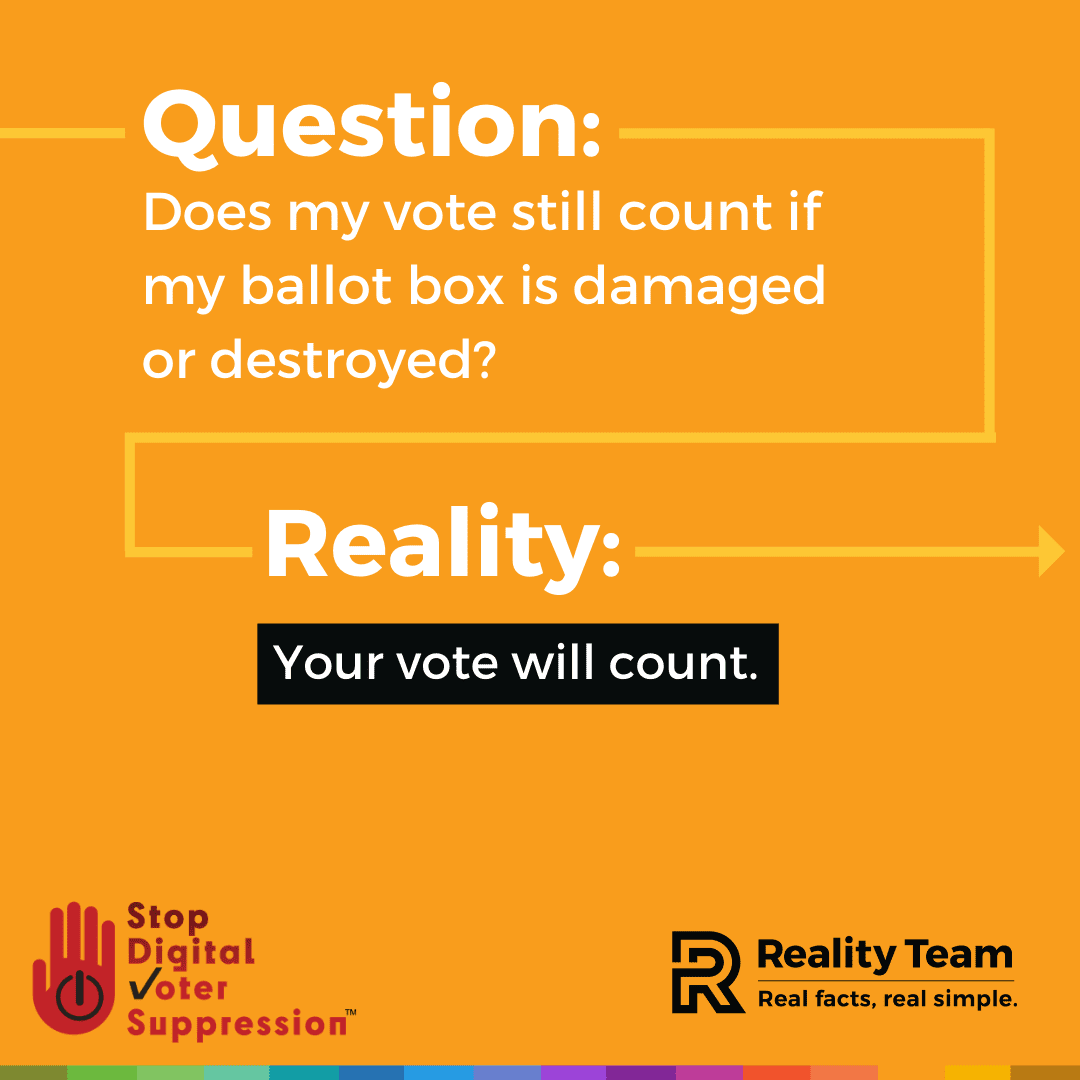 Question: Does my vote still count if my ballot box is damaged or destroyed? Reality: Your vote will count.