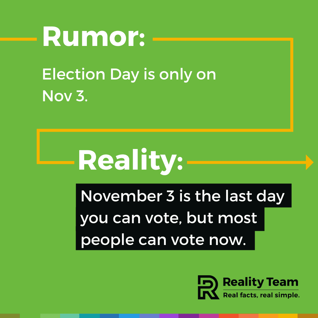 Rumor: Election Day is only on November 3. Reality: November 3 is the last day you can vote, but most people can vote now.