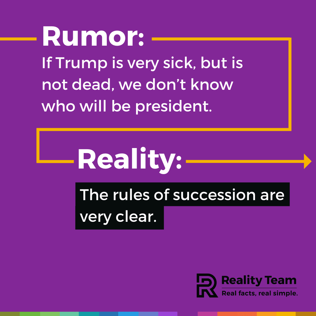 Rumor: If Trump is very sick, but is not dead, we don't know who will be president. Reality: The rules of succession are very clear.