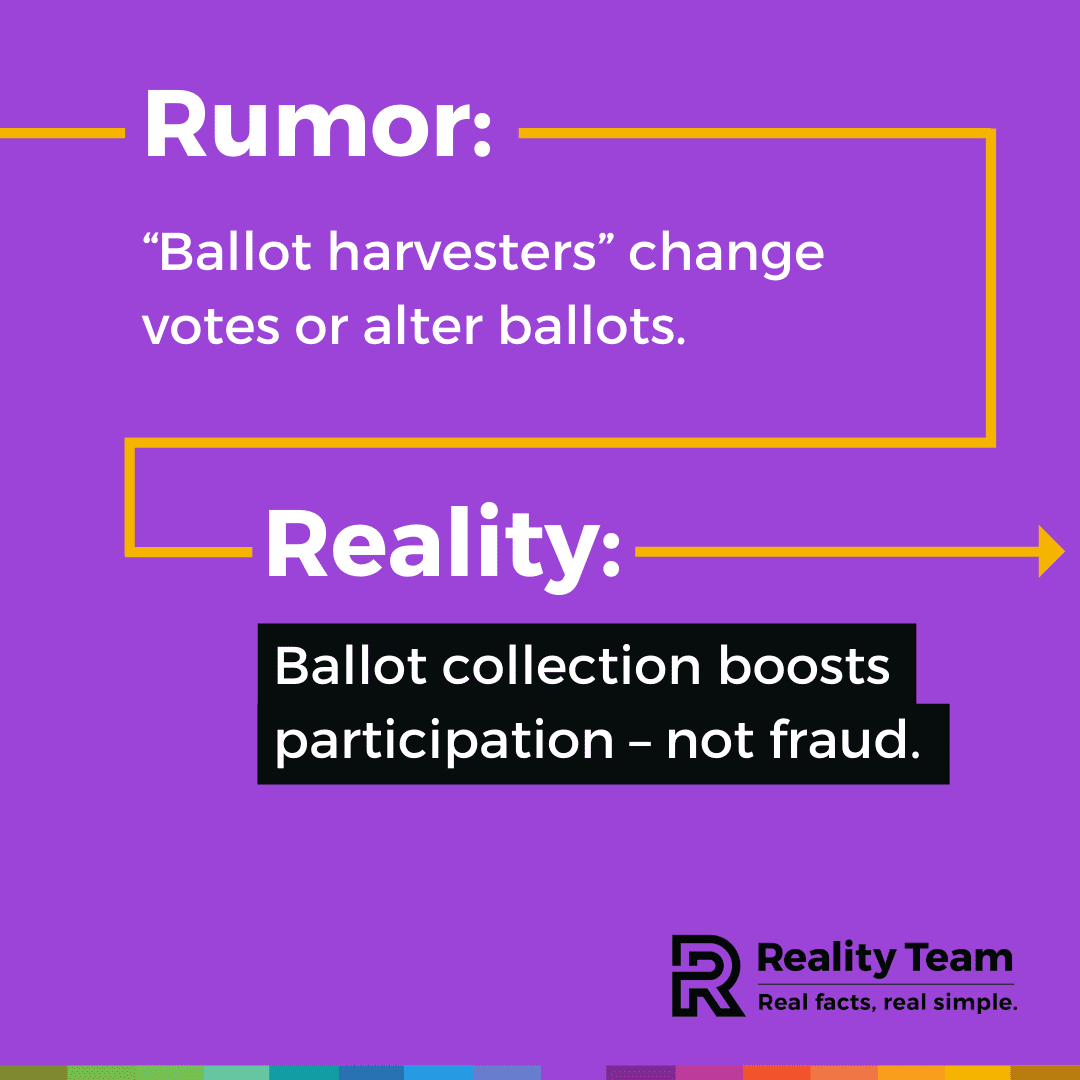 Rumor: Ballot harvesters change votes or alter ballots. Reality: Ballot collection boosts participation - not fraud.