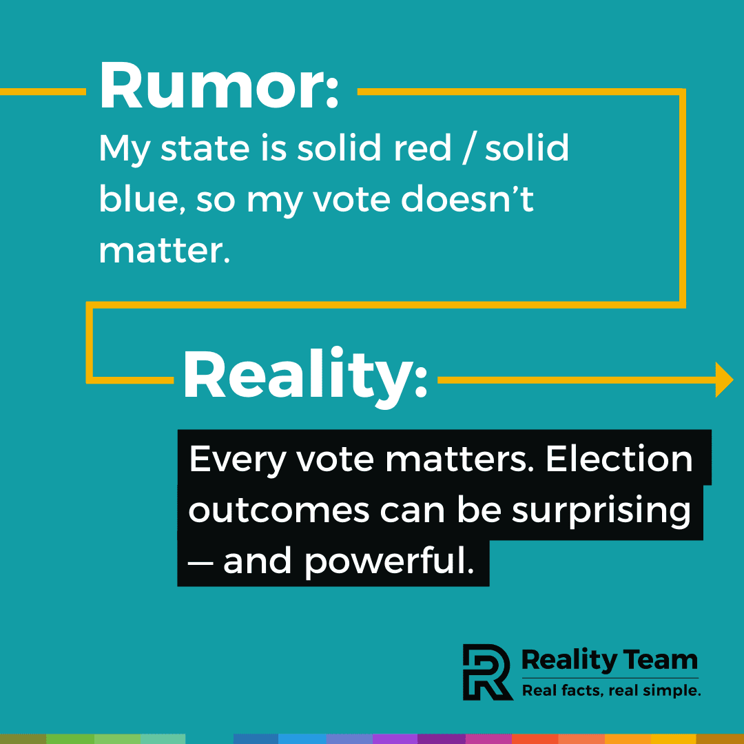 Rumor: My state is solid red / solid blue, so my vote doesn't matter. Reality: Every vote matters. Election outcomes can be surprising - and powerful.