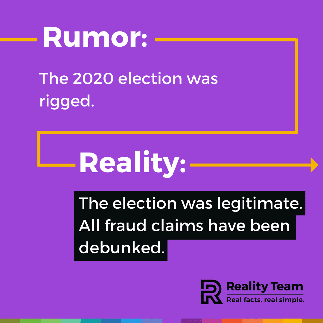 Rumor: The 2020 election was rigged. Reality: The election was legitimate. All fraud claims have been debunked.