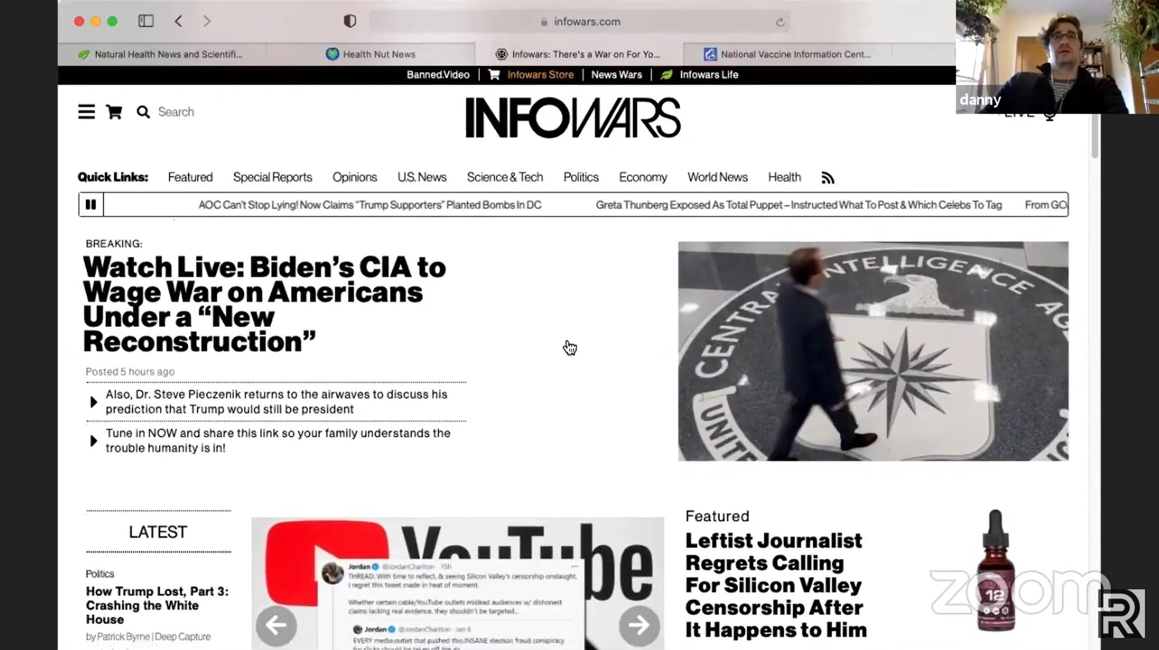 A screenshot of Infowars homepage.