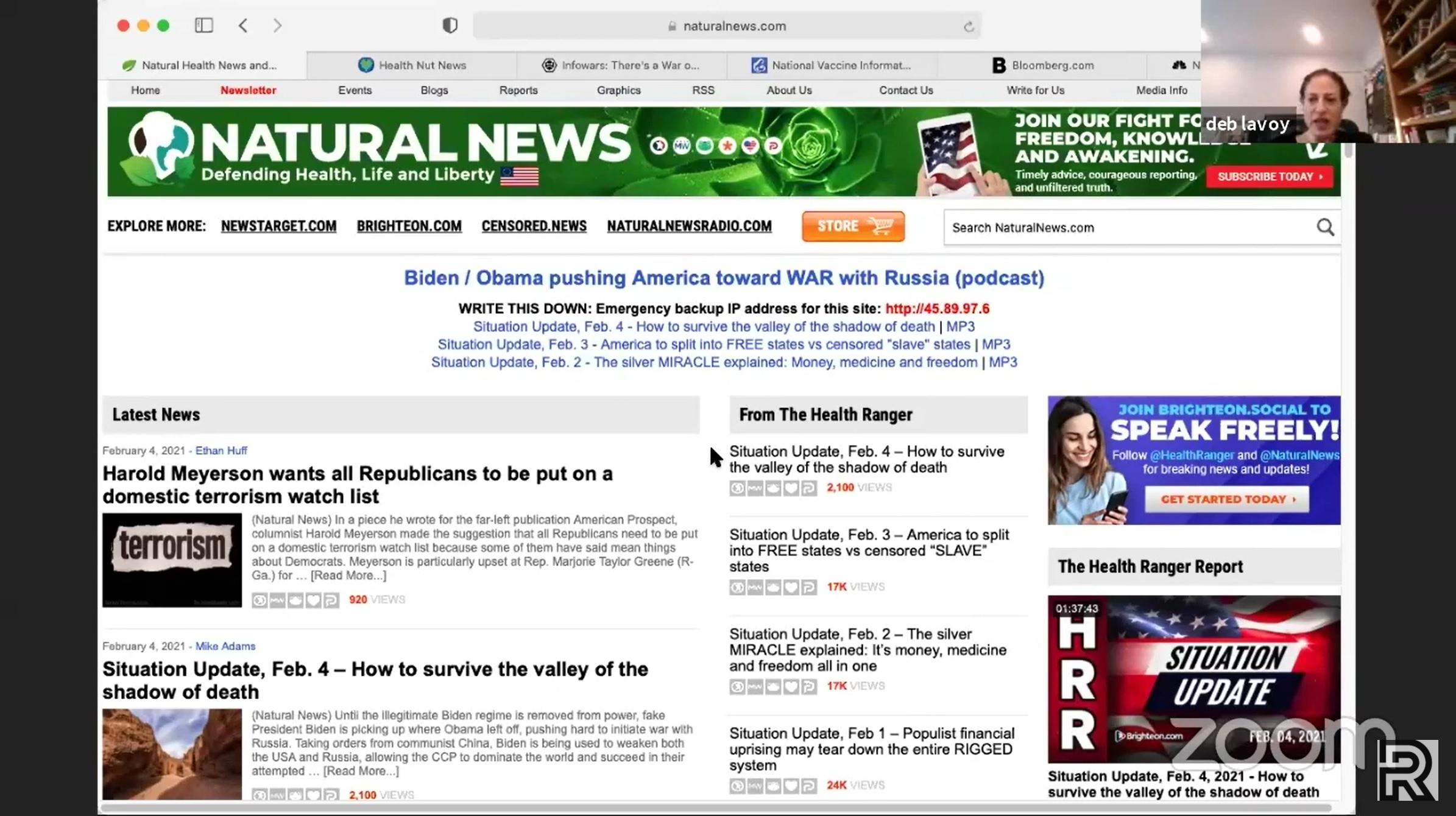 A screenshot of Natural News homepage.