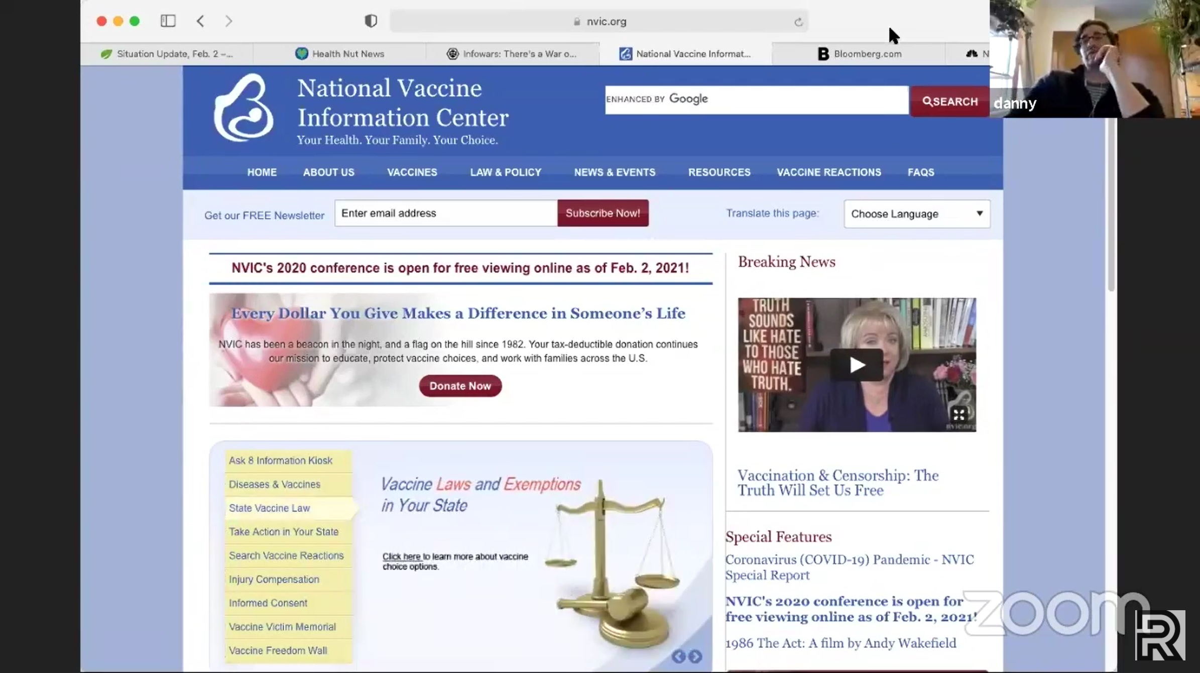 A screenshot of the National Vaccine Information Center homepage.