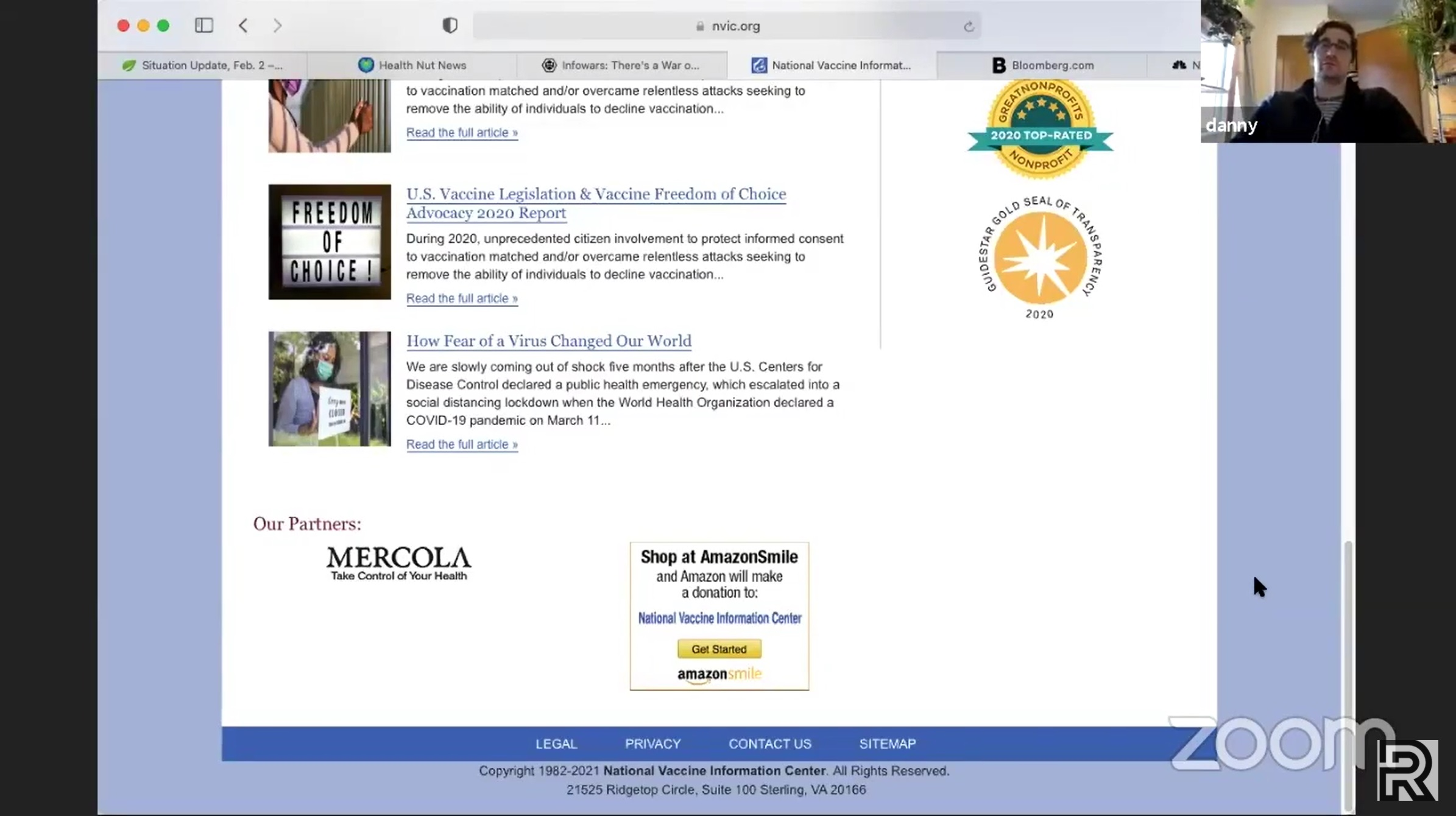 A screenshot of the bottom of the National Vaccine Information Center homepage.