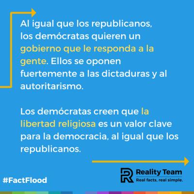 Al igual que los republicanos, los demócratas quieren un gobierno que le responda a la gente. Ellos se oponen fuertemente a las dictaduras y al autoritarismo. Los demócratas creen que la libertad religiosa es un valor clave para la democracia, al igual que los republicanos.