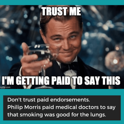 Fake Expert Example: The Paid Endorsement