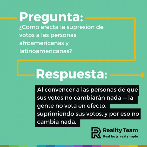 Pregunta: Como afecta la supresion de votos a las personas afroamericanas y latinoamericanas? Respuesta: Al convencer a las personas de que sus votos no cambiaran nada - la gente no vota en efecto, suprimiendo sus votos, y por eso no cambia nada.