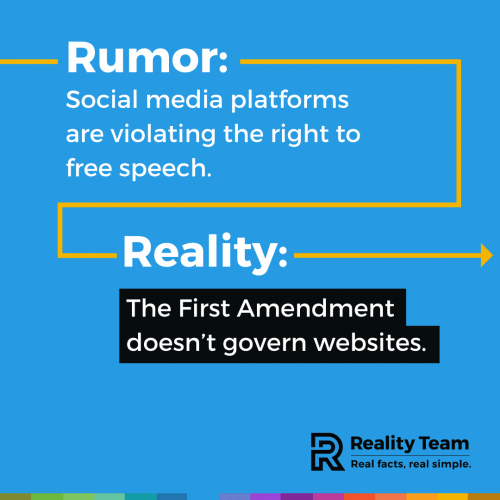 Rumor: Social media platforms are violating the right to free speech. Reality: The First Amendment doesn't govern websites.