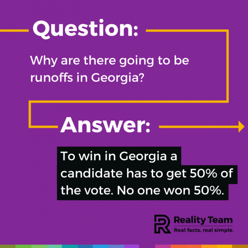 Question: Why are there going to be runoffs in Georgia? Answer: To win in Georgia a candidate has to get 50% of the vote. No one won 50%.